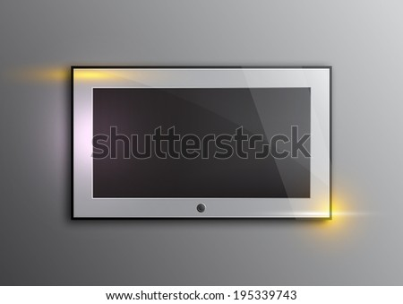 illustration television on the concrete wall with optical flare interior scene