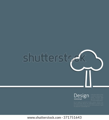 Illustration tree standing alone symbol, logo template corporate style layout - raster