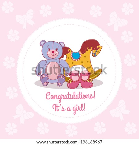 with baby girl toys and dressbaby shower greeting card