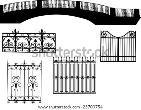 illustration with fences collection isolated on white