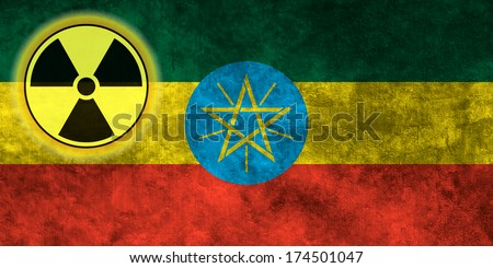 Illustration with flag on grunge background with nuclear sign - Ethiopia
