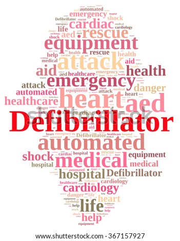 Illustration with word cloud relating to Defibrillator.