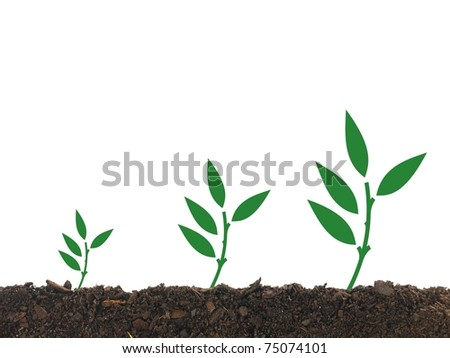 Illustrations od seedling growing in soil isolated against a white background
