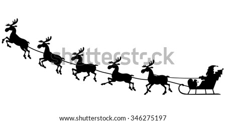 illustrations of silhouette of Santa Claus sitting in a sleigh, reindeer who pull