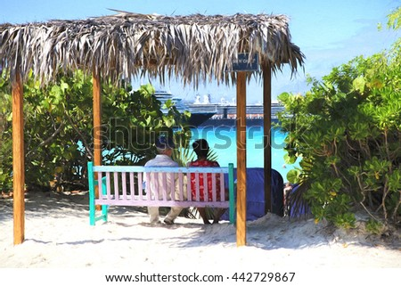 Illustrative image of mature couple sitting on a bench overlooking beach with cruise ships in the bay.