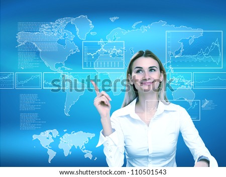 Image of a businesswoman and technology related background