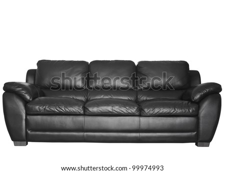 Image of a modern black leather sofa isolated against white background