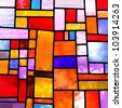Image of a multicolored stained glass window with irregular block pattern , square format - stock photo