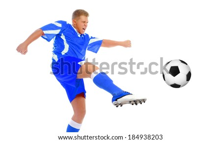 Image of a young football player with the ball in the blue uniform. Isolated on white background