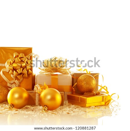 Image of different Christmas presents isolated on white background, luxury golden gift boxes with decorative bubbles, New Year surprise, festive border, holiday greeting card, Christmastime concept
