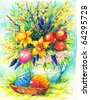 Image of Easter theme with basket full of colorful eggs and spring flowers in background.Picture I have created with watercolors. - stock photo