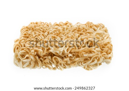 Image of instant noodles on white background