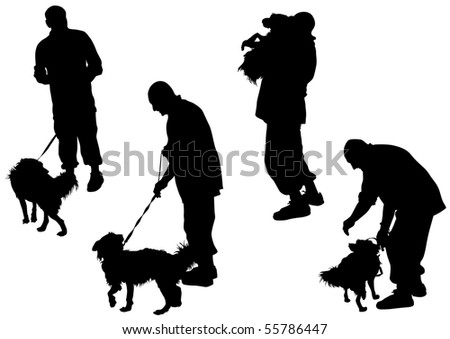 image of man with a dog on a leash
