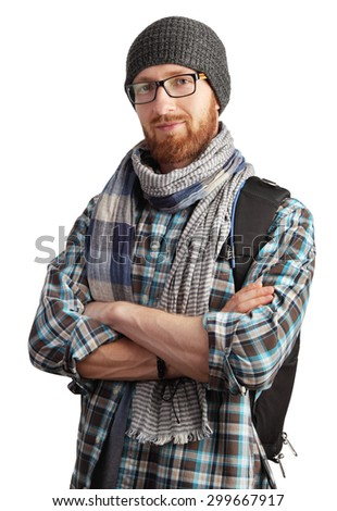 Image of man with red beard in glasses posing isolated on white background