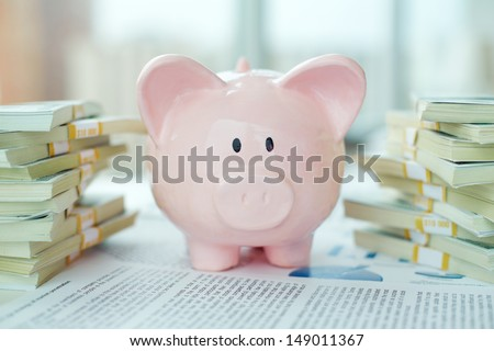 Image of pink piggy bank and stacks of dollar bills