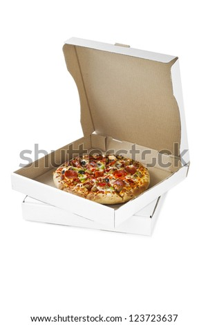 Image of pizza on the box isolated on white background