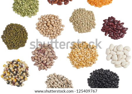 Image of scattered heap on assorted beans against white background