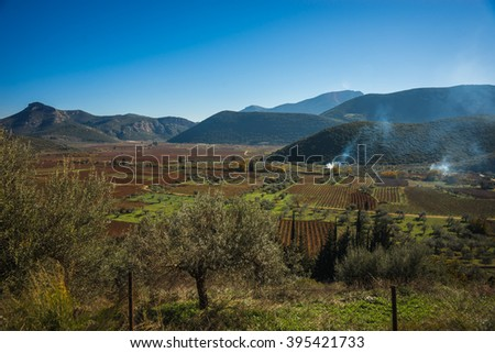 Image of smoke from fires in the agricultural fields on Peloponnese in Greece