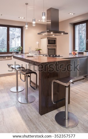 interior design for open kitchen. Image of spacious stylish open kitchen with decorative worktop White Contrast Modern Kitchen Interior Design Stock Illustration