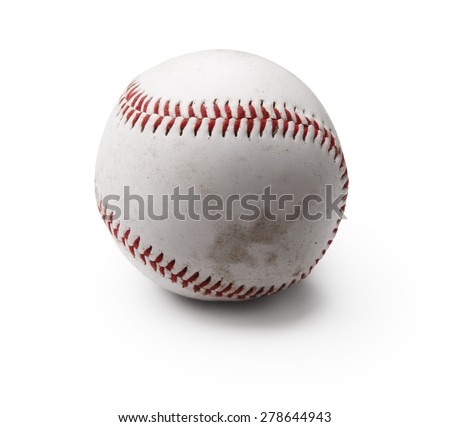 Image of used baseball isolated on white
