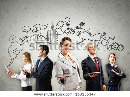 Image of young businesspeople team. Collage background