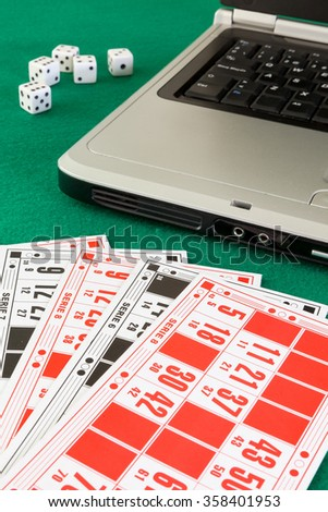 Image related to classic and online casino  games  on a bingo cardas background from a player's perspective