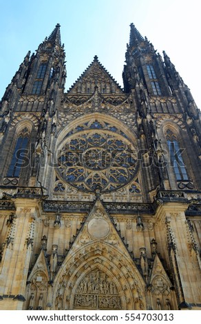 immense facade of the Gothic cathedral of St. Vitus in Prague in the Czech Republic
