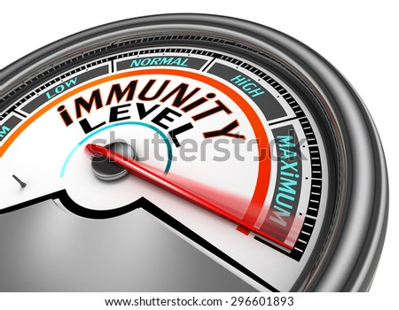 immunity conceptual meter indicate maximum, isolated on white background