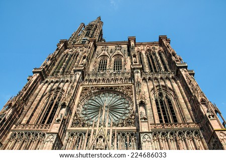 Imposing Strasbourg cathedral in France.
