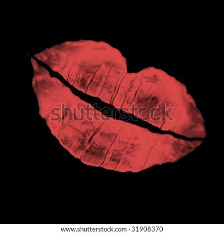 imprint of woman's lip on a black color background