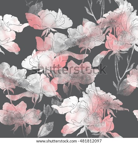 imprints flowers and leaves of wild rose. hand painted seamless pattern. digital drawing and watercolor texture. background for textile decor and design. botanical wallpaper. mixed media. floral frame