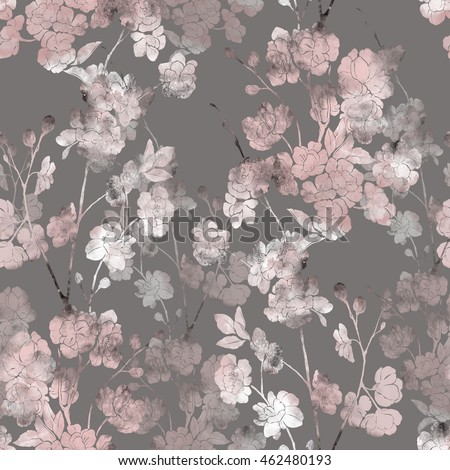 imprints japanese sakura blossom. hand painted seamless pattern. digital drawing and watercolor texture. background for textile decor and design. botanical wallpaper. mixed media. floral frame