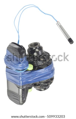 Improvised Explosive Device (IED) - hand grenade with cell phone isolated on white