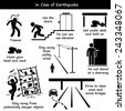 In Case of Earthquake Emergency Plan Stick Figure Pictogram Icons - stock vector