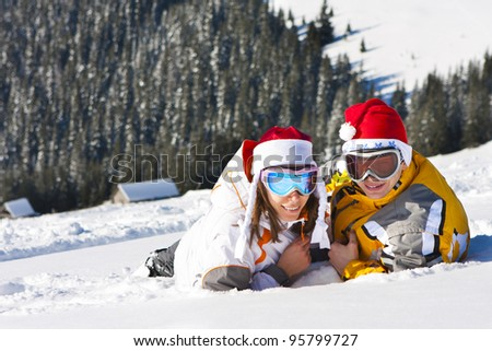 In love pair on ski vacation