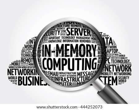 In-Memory Computing word cloud with magnifying glass, business concept 3D illustration
