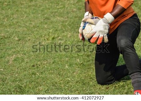 In play soccer goalkeeper catch a ball.