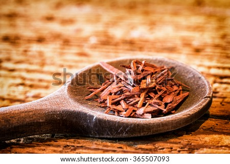 Incense on an old kitchen spoon - sandalwood