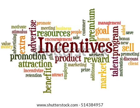 Incentives, word cloud concept on white background.