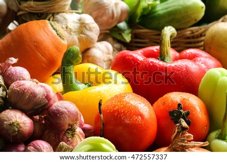 Include fresh organic vegetables on white wooden floor with copy space still life
