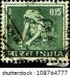 INDIA - CIRCA 1965:A stamp printed in India shows  woman - tea pickers, circa 1965 - stock photo