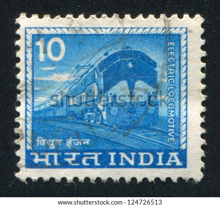INDIA - CIRCA 1965: stamp printed by India, shows Electric locomotive, circa 1965