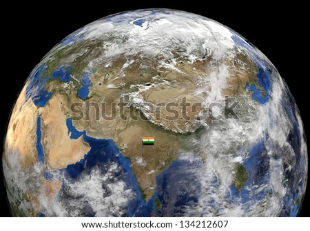 India flag on pole on earth globe illustration - Elements of this image furnished by NASA