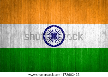 India Flag on wood background