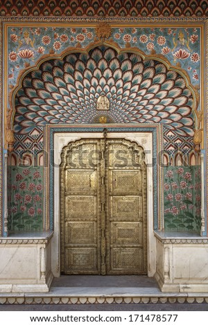 India, Rajasthan, Jaipur, City Palace (built in 1729 - 1732 AD by Sawai Jai Singh), old brass door