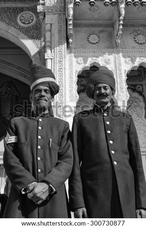 India, Rajasthan, Jaipur; 26 january 2007, imperial guards at the City Palace entrance - EDITORIAL