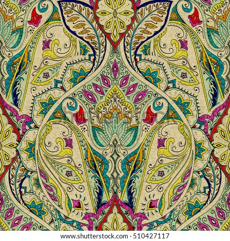 India seamless paisley pattern, decorative border for textile, wrapping, decor. Bohemian design