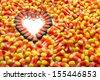 Indian corn arranged in heart shape among candy corn - stock
