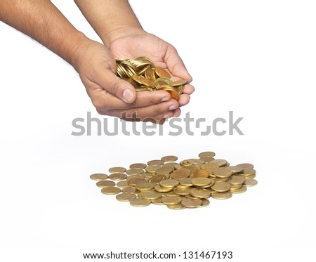 Indian Gold Coins in Hands