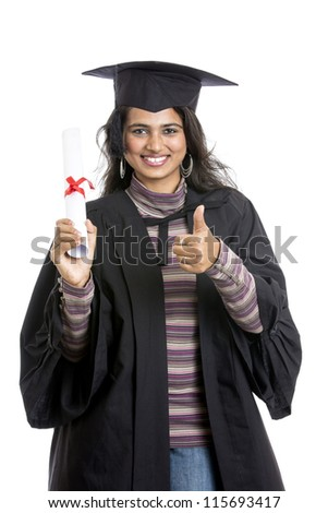 Indian graduation young woman on white background.